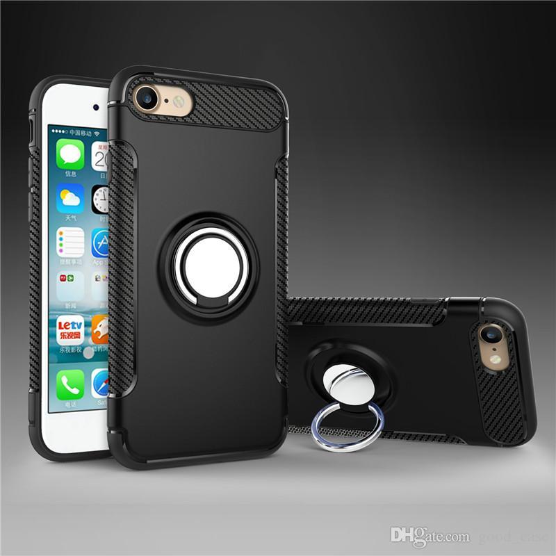 Hybrid TPU + PC 360 Soporte de anillo Soporte de armadura Estuches a prueba de choques Soportes de coche magnéticos Cubierta para iPhone 7 6S Plus iPhone 8 Samsung S8 S7