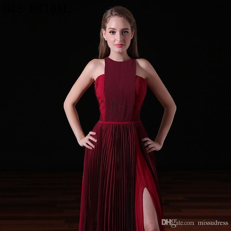 2017 Borgonha Chiffon Longos Vestidos de Noite Halter Moda Feminina Vestido Formal Barato Crepe Sexy Fenda Festa À Noite Vestidos de Baile A019
