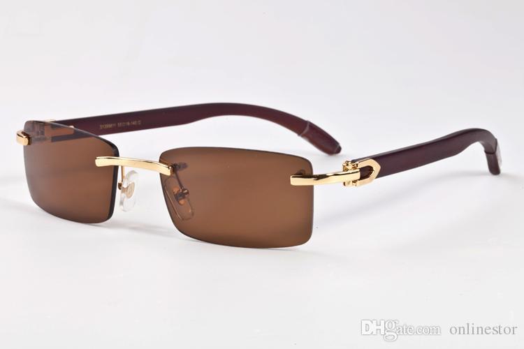 Madeira Sunglasses 2020 Mens forma Vintage Sports Óculos de sol para as mulheres Atitude sem aro chifre de búfalo Vidros Com Box Eyewear Estilo Verão