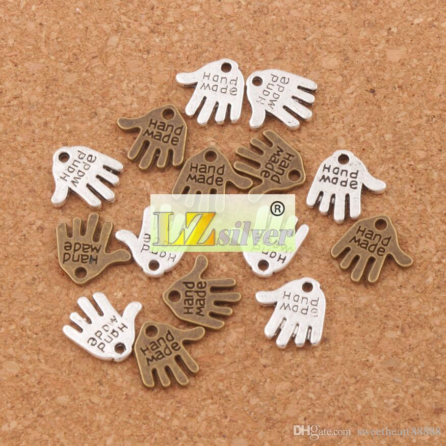 Handgemaakte Hand Charms Hangers 13x11mm 200 stks / partij Tibetaans Zilver / Brons Fit Armbanden Kettingen Sieraden DIY L370