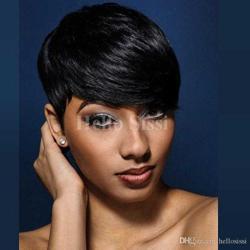 Very Short Wig Brazilian Hair Cheap Pixie Cut Human Hair Lace Front Wig  Natural Black Human None Lace Guleless Wig For Black Women Blonde Wigs With  Bangs ... de7014a9e