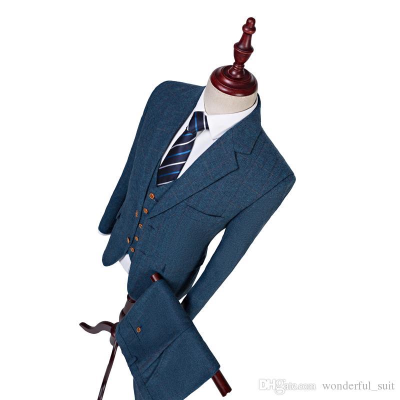 368caee35 Latest Coat Pant Design Wool Blue Herringbone Retro Gentleman Style Men  Wedding Suits Tailor Blazer Groom Suits For Men Male Wedding Suits Man  Wedding ...