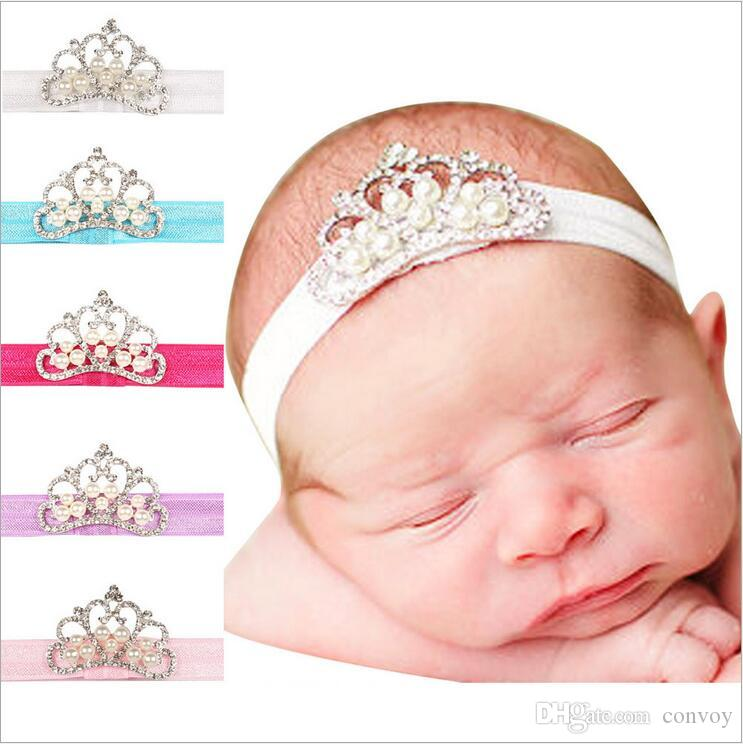 Baby Girls Headbands Pearl Tiara Elastic Bands Kids Shiny Rhinestone  Headbands Children Elastic Hair Accessories Kids Headwear KHA342 Wholesale  Hair ... 51e614262d9a