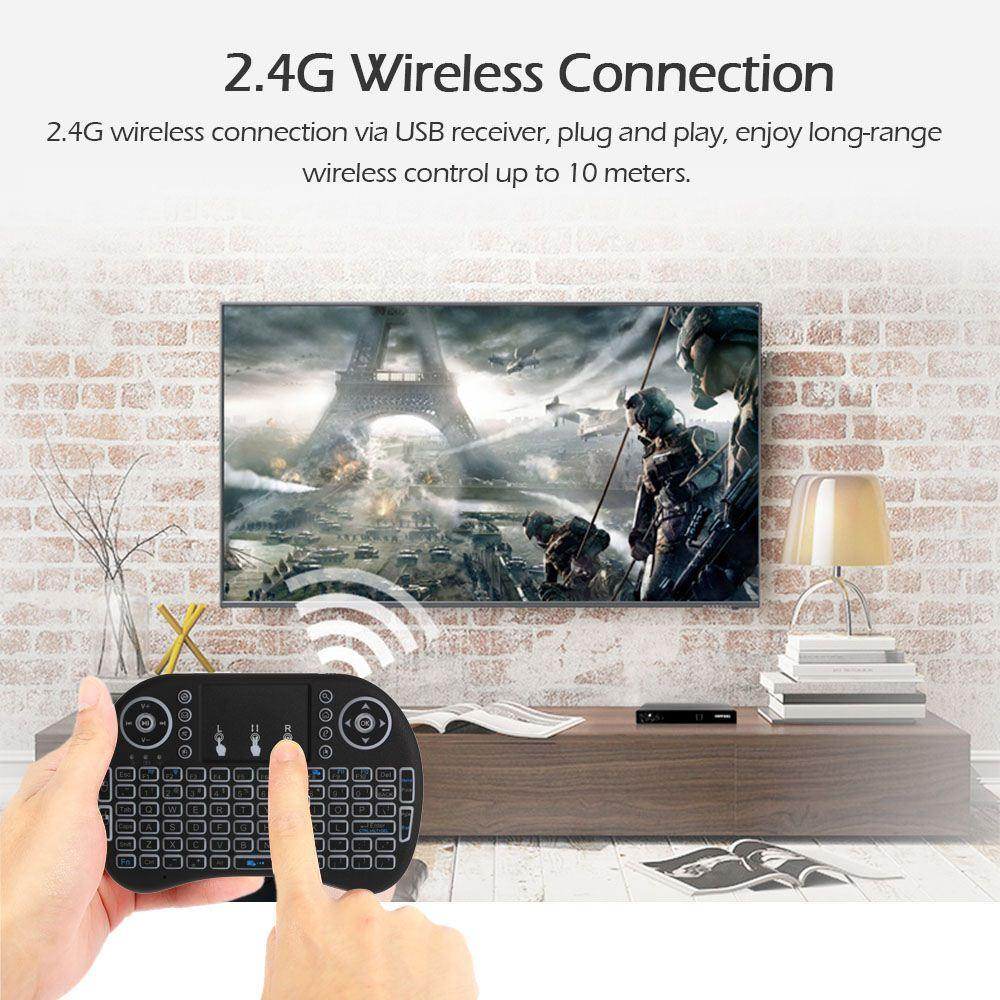 2.4GHz LED Backlit Wireless Keyboard with Touchpad Mouse Remote Control for Android TV BOX HTPC PC