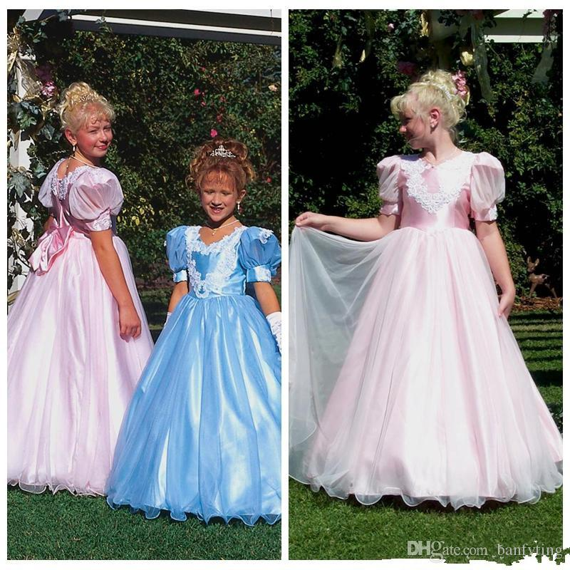 Beautiful Medieval Flower Girl Dresses Light Pink Floor Length Prom