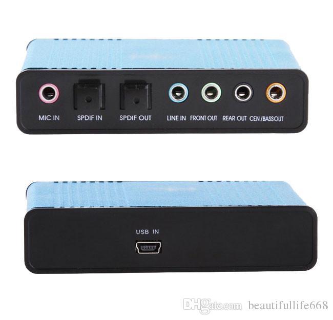 Popular External Optical USB Sound Card 6 Channel 5.1 Audio Sound Card Adapter SPDIF Optical Controller for PC Laptop Computer