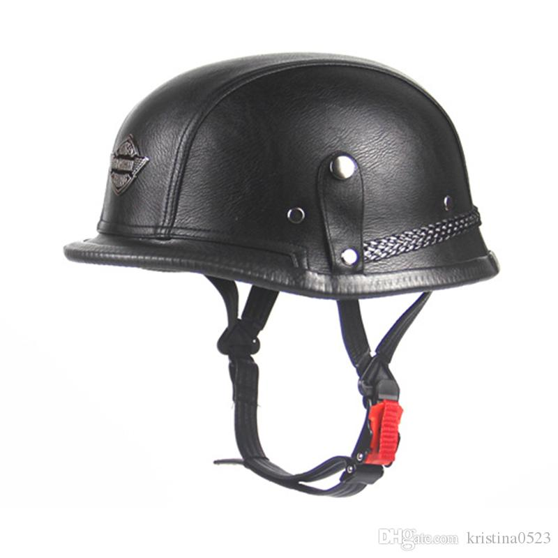 DOT Approved Retro Leather Motorcycle Helmet WWII Big German Hlaf Helmet Motorbike Casco For Harley Rider