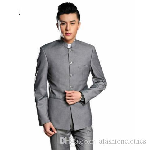 78e4298ab30 2019 Men Chinese Tunic Suits Designs Homme Terno Stage Costumes For Singers Men  Blazer Clothes Jacket Star Style Dress Black Grey From Afashionclothes