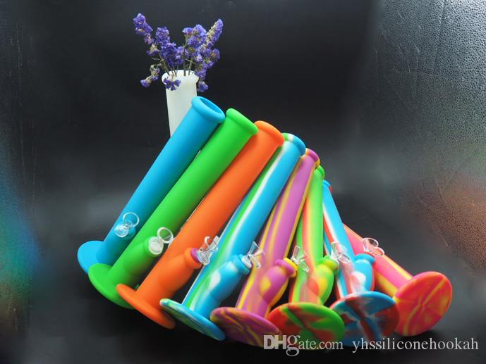 Personality design silicone smoking pipe oil rig 355mm New development product silicone hookah water pipe unbreakable bong