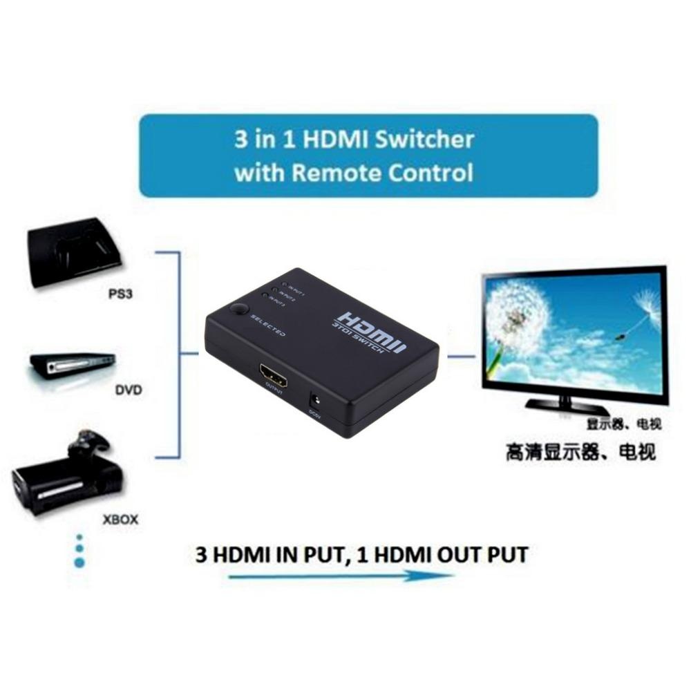 50pcs HDMI Switch Switcher Hub with IR Remote 3 In 1 Out 3 PORT HDMI hub  Selector For HDTV PS3 DVD