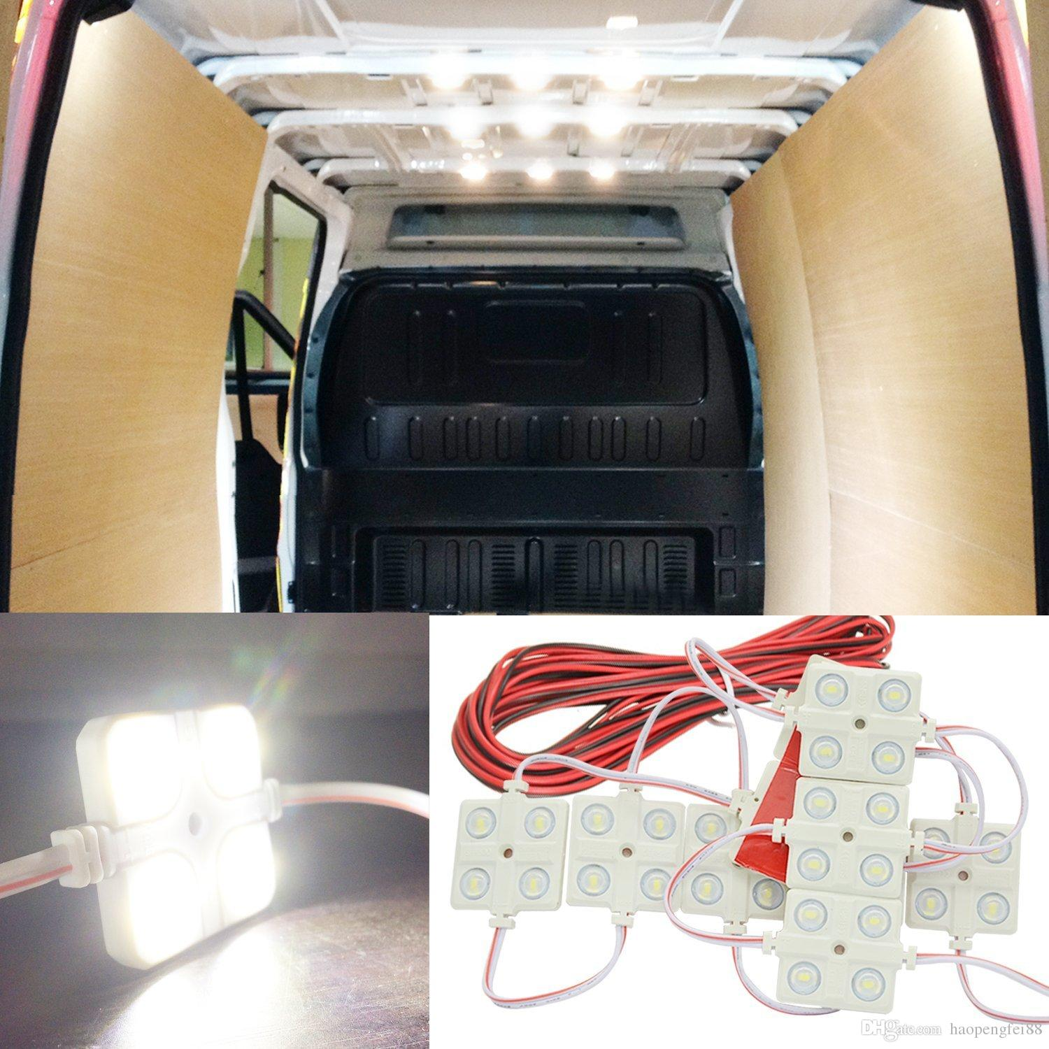 discount 12v 10x4 led car interior lighting lamp waterproof inside roof light kit for rv van. Black Bedroom Furniture Sets. Home Design Ideas