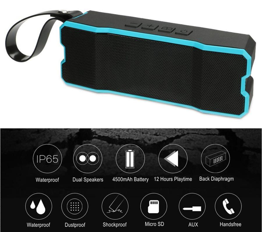 Portable Wireless Bluetooth Speaker Outdoors HD Bass Sound Stereo Pairing,4500mAh IP65 Waterproof Sport for Smart phone iPhone/iPod/iPad/