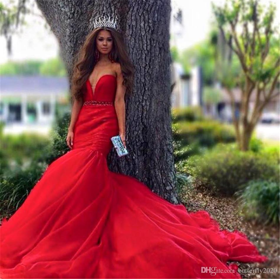 Compre Vestidos De Boda De La Sirena Roja Elegante Más Vestido De ...