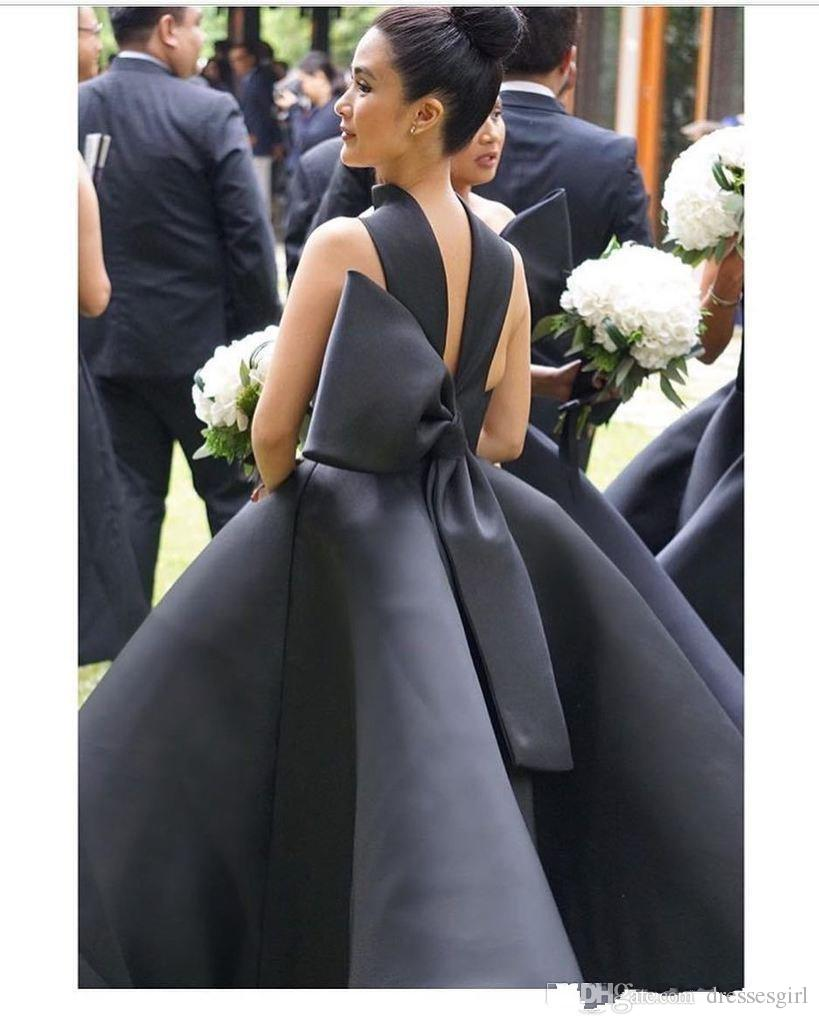 vestido de festa Elegant Puffy Black Bridesmaid Dresses Halter Bow Satin Maid Of Honor Dresses Ankle Length Formal Wedding Party Gowns