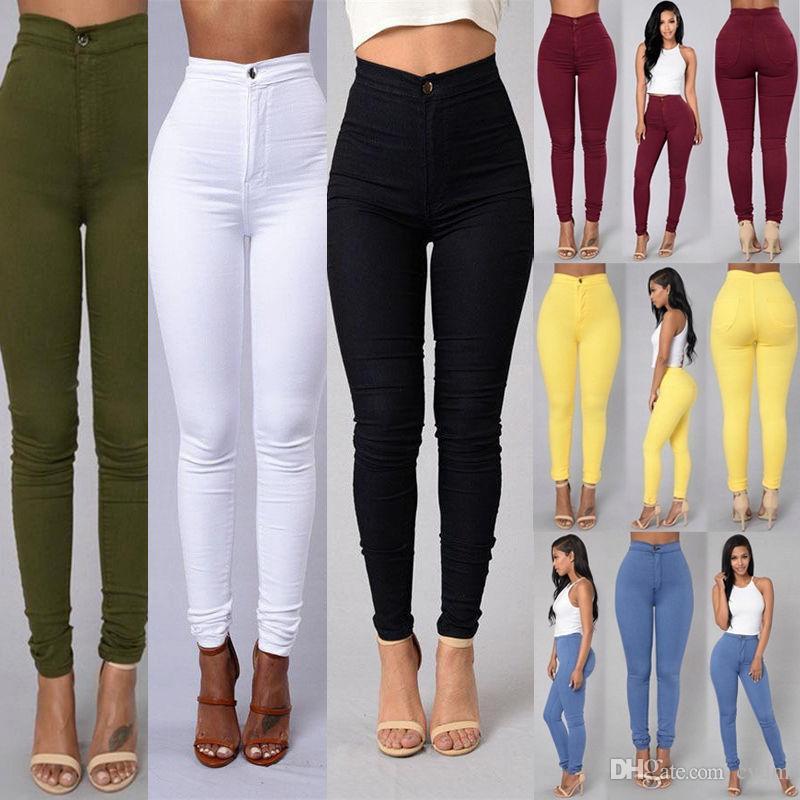 Colorete color sólido sección delgada cintura alta estiramiento apretado color caramelo pantalones vaqueros pies blanco, negro, amarillo, verde soporte lote mixto