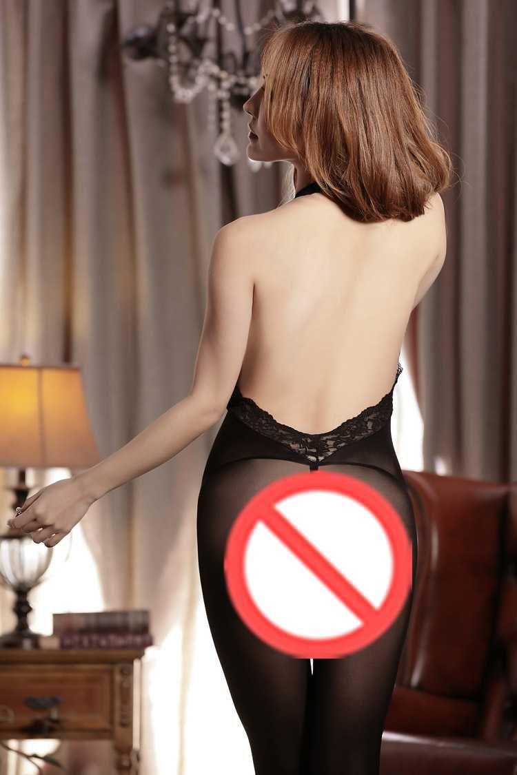 Frete grátis new lingerie sexy tentação halter pendurado no pescoço sexy virilha aberta peça preta meias meias roupas aos pedaços preto azul ro
