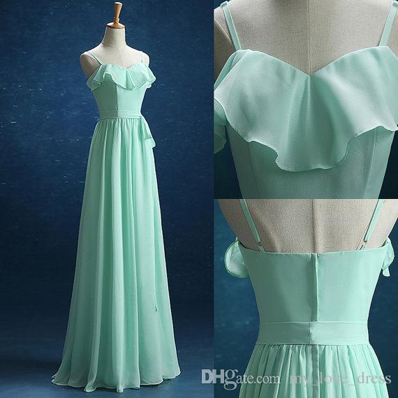Mint Chiffon Bridesmaid dress Ruffled Neck Spaghetti Straps Evening Dress Party Dress with Sash Floor Length
