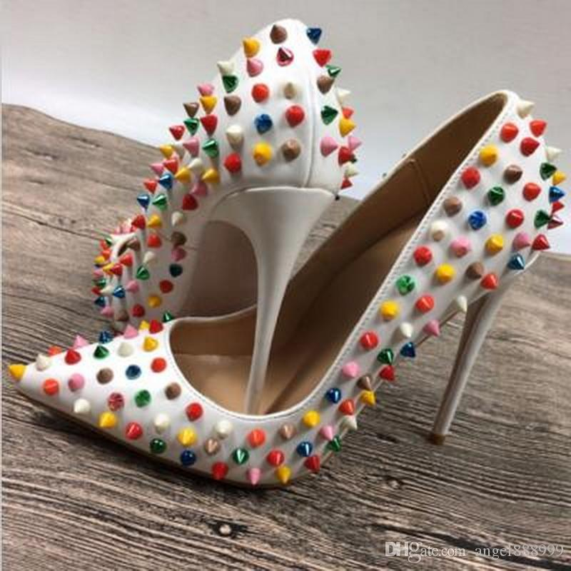 Excellent White Multi Color Rivets Spikes Red Bottom High Heels Patent Pu  ZR57