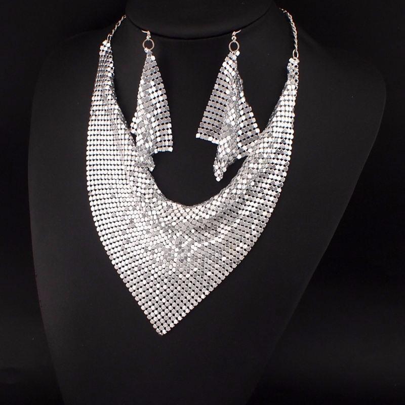 MANILAI Jewelry Set Chic Style Shining Metal Slice Bib Choker Necklaces Earring Party / Wedding Fashion Jewelry Sets 2017