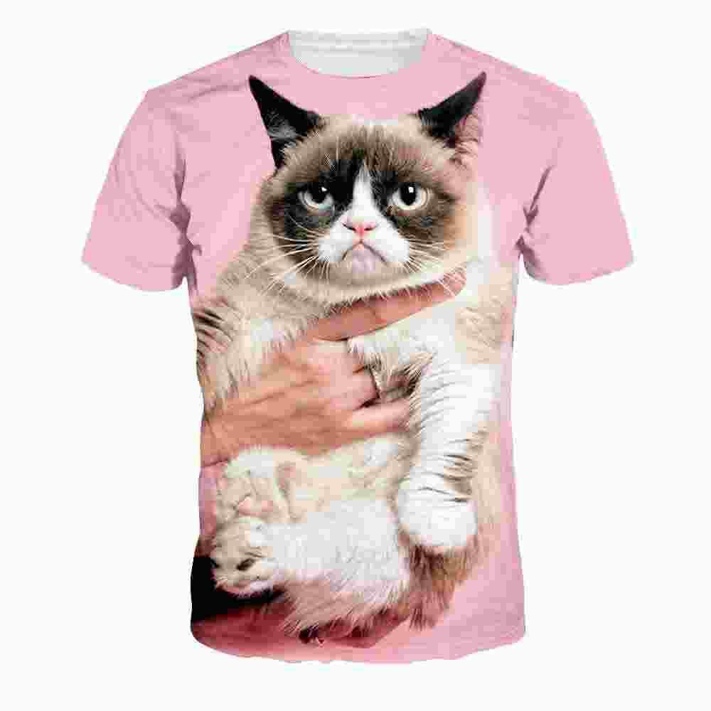 Cat 3D print pink kawaii T shirt plus size harajuku punk tees fashion couple clothes loose polyester fashion tee shirt femme