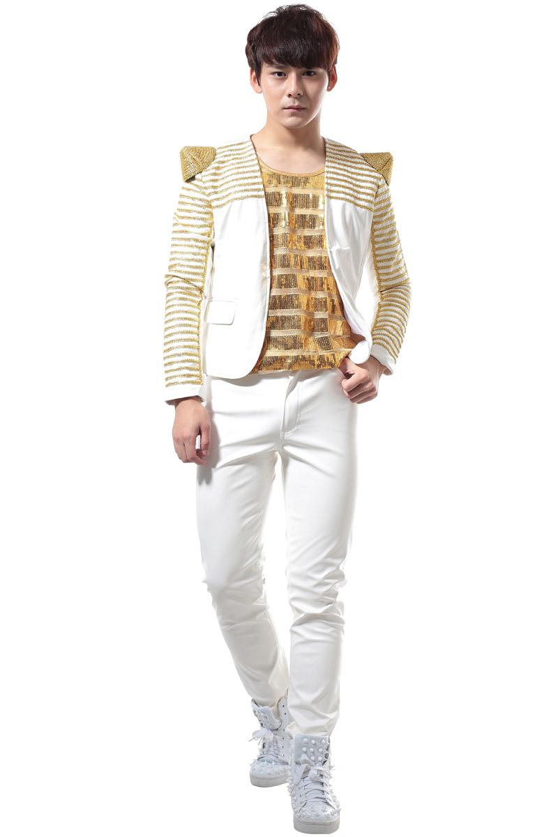 mode masculine PU veste en cuir étape blazers vêtements de plein air danseur chanteur performance spectacle discothèque vêtements Outdoors Slim usure noir rouge blanc