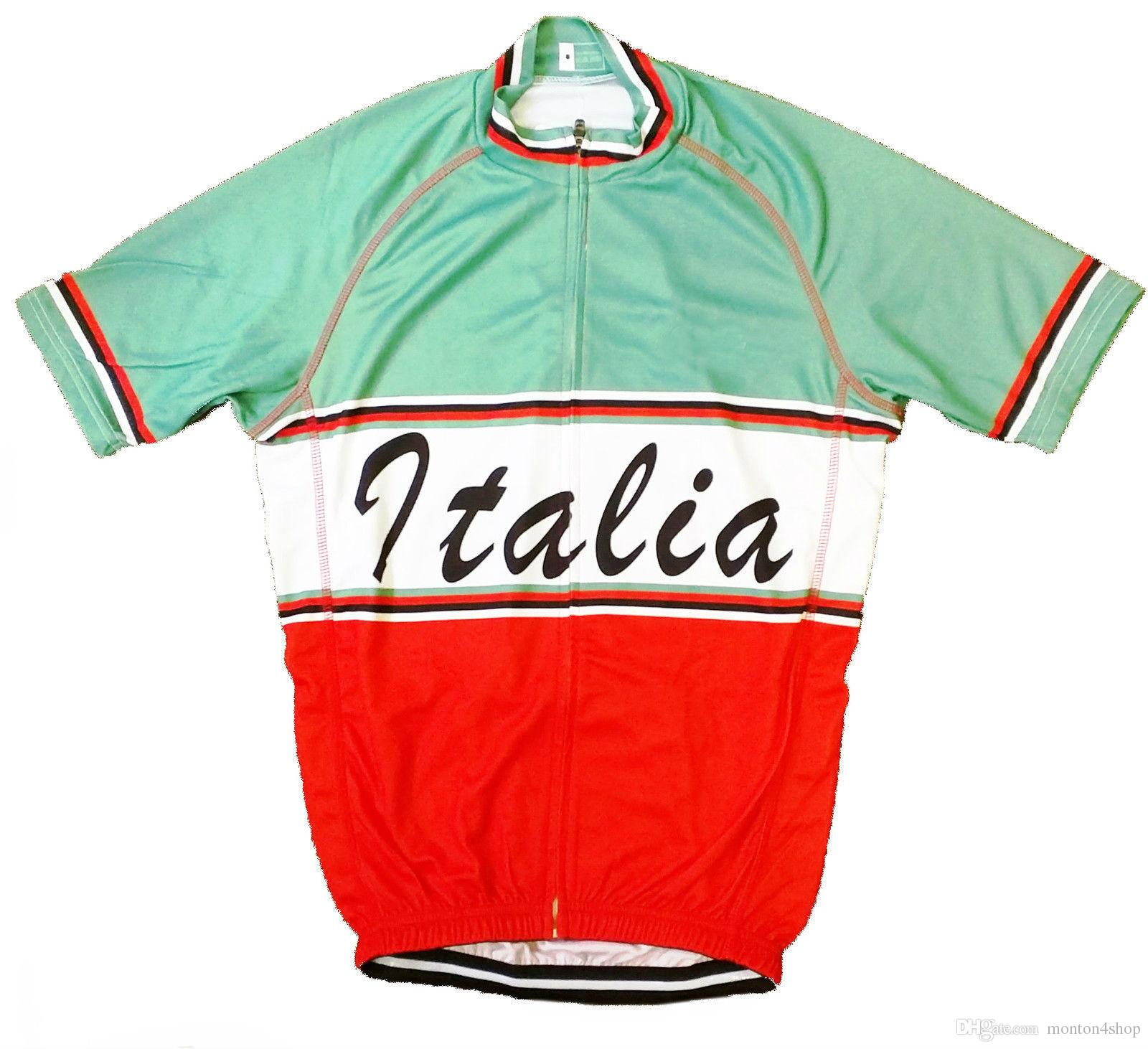 2019 Team TALIA TRICOLORE RETRO VINTAGE cycling Jersey breathable cycling jerseys Short sleeve summer quick dry cloth MTB Ropa Ciclismo B53