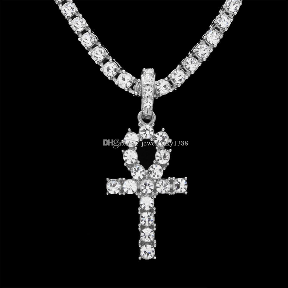 Hip Hop Gold Silver Ankh Egyptian Jewelry Alloy Pendant Bling Rhinestone Crystal Key To Life Egypt Cross Necklace Chain