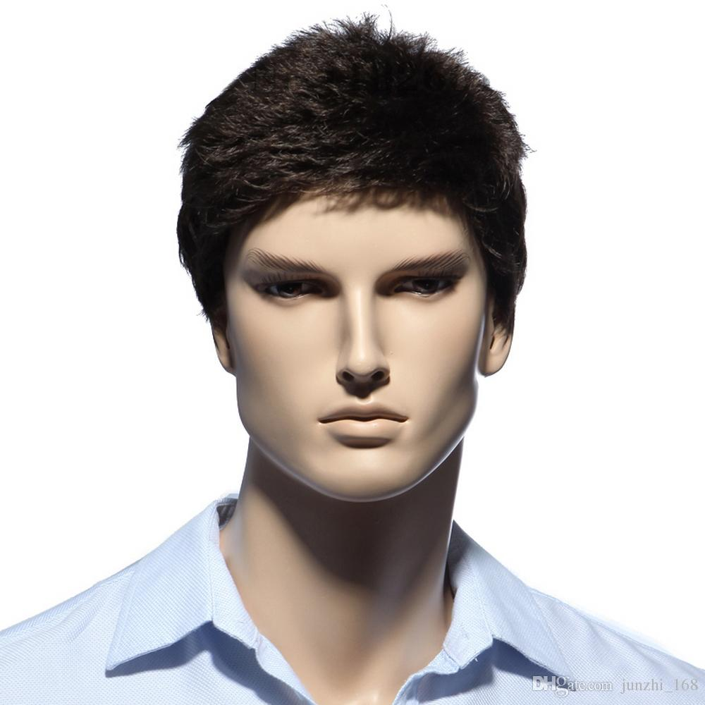 6inch Dark Brown Short Mens Hair Wig For White Men Heat Resistant Synthetic Natural Wigs