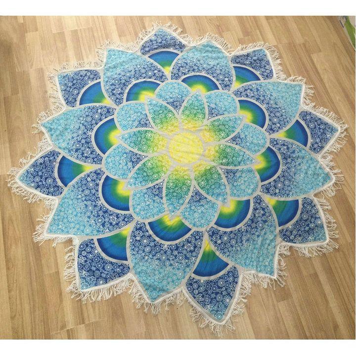 c80b3b330584c New Indian Lotus Mat Bohemian Mandala Tapestry Flower Printed Shawl Tassel  Summer Beach Towel Throw Rug Blanket Gift, Wall Decorative Tapestry Art  Designs ...