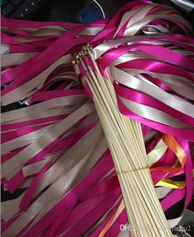 Twrling fairy ribbon streamers wedding ribbon wooden sticks angel wands with bells confetti party decorations hot practical gift