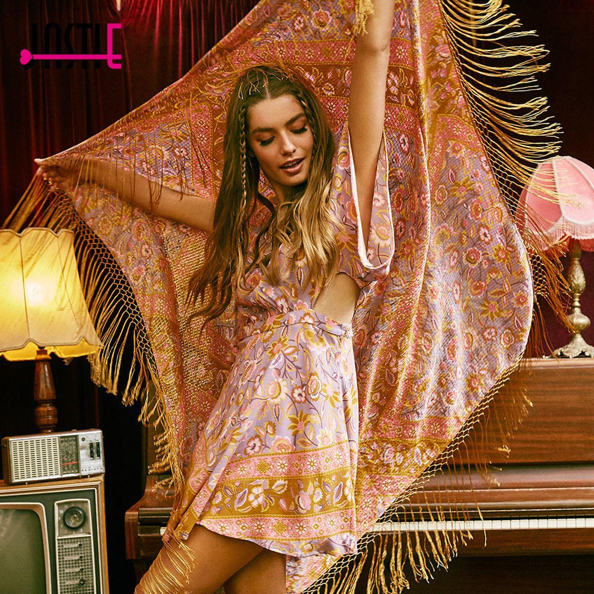 c0278ded3e Jastie Floral Print Boho Mini Dress V-Neck Flare Sleeve Waist Hollow Out  Sexy Dress 2017 Summer Casual Beach Short Women Dresses