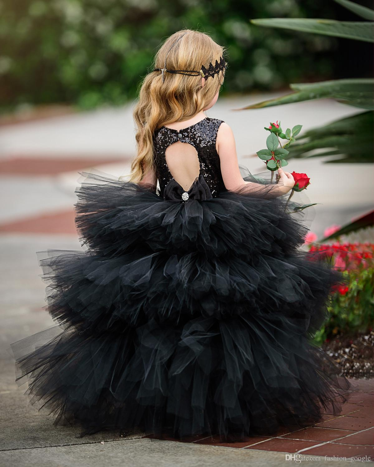 The Swan Princess Girls Dresses 2017 with Sequins Bodice & Ruffles Skirt Ball Gown Black Flower Girls Dress Hi Lo Style for Country Weddings