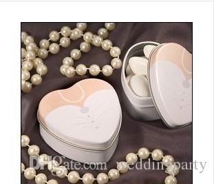 2 unids = 1 Unidades 200 unids Vestido Para Los Nueves En Forma de Corazón Novia o Novio Menta Latas Estaño Caja de Dulces Cajas Favores de Regalo de Boda