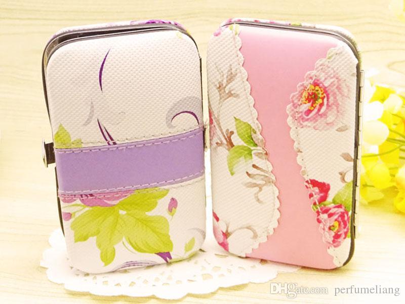 7 en 1 Rotin Fleur Impression Coupe-Ongles Ciseaux Kit Femme Pédicure Manucure Ensemble Faveurs De Mariage Cadeaux ZA4444