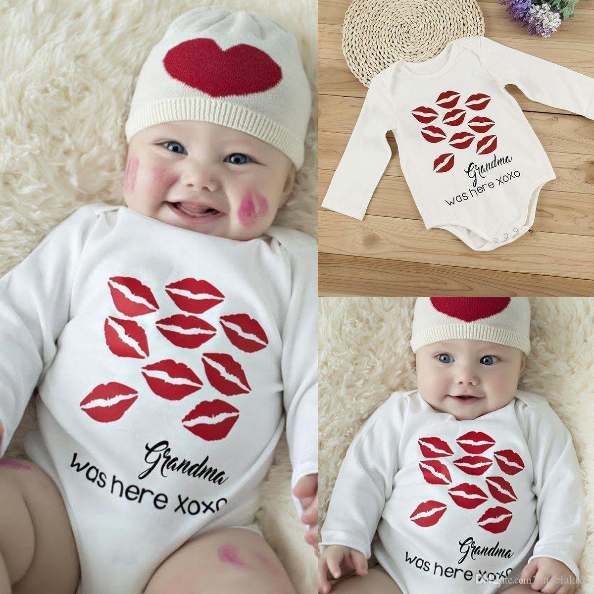 2018 Newborn Baby Bodysuit Lip Prints Cotton Romper Infant Boy Girl ...