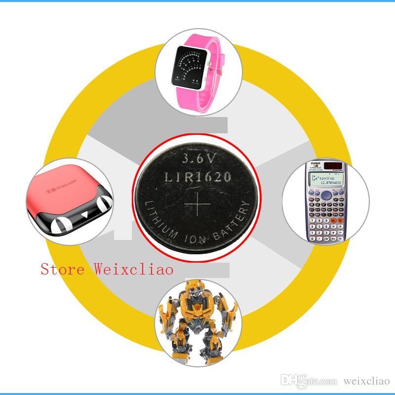 1 LIR1620 3.6V Lithium Li Ion Uppladdningsbart Knappcell Batteri 1620 3.6 Volt Li-Ion Mynt Batterier Ersätt CR1620 Gratis frakt