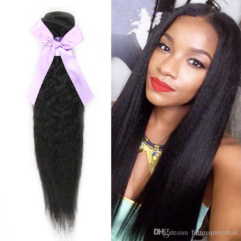 Brazilian Kinky Straight Coarse Yaki Remy Human Hair Weave 12 30