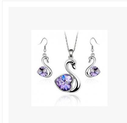 Joyería cisne precioso sistemas de la joyería del banquete de boda de cristal austriaco collar pendiente Establece LM-S053