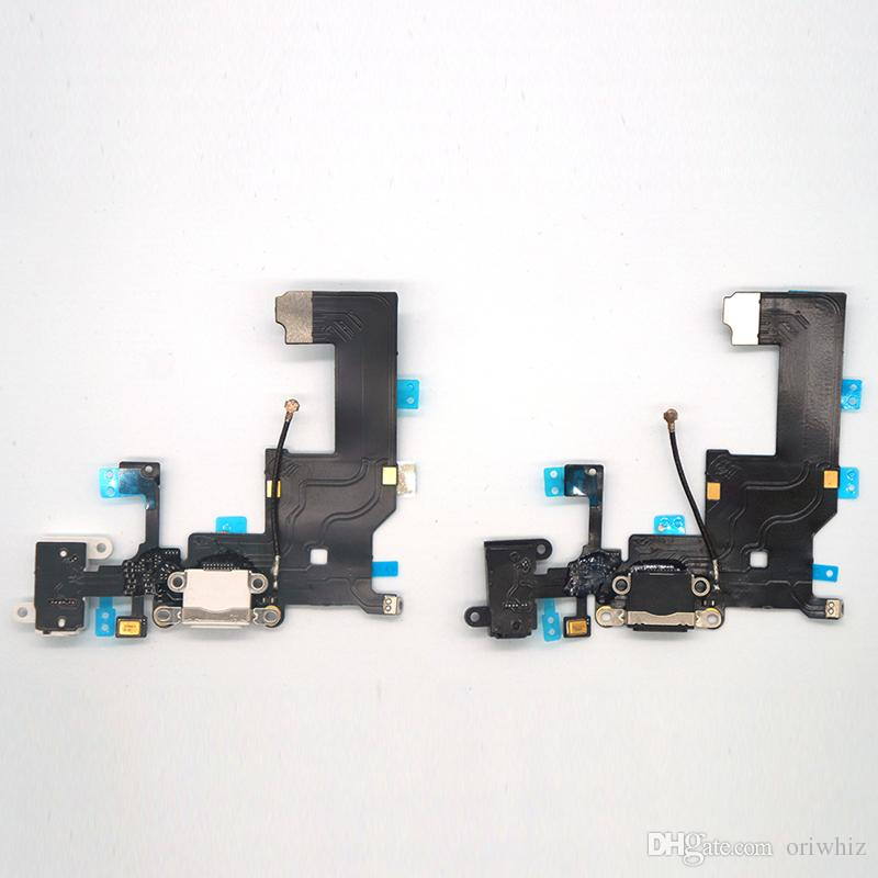 For iPhone 5 5G 5C 5S USB Dock Charger Charging Headphone Audio Port Flex Cable Replacement Part White Black Color Can