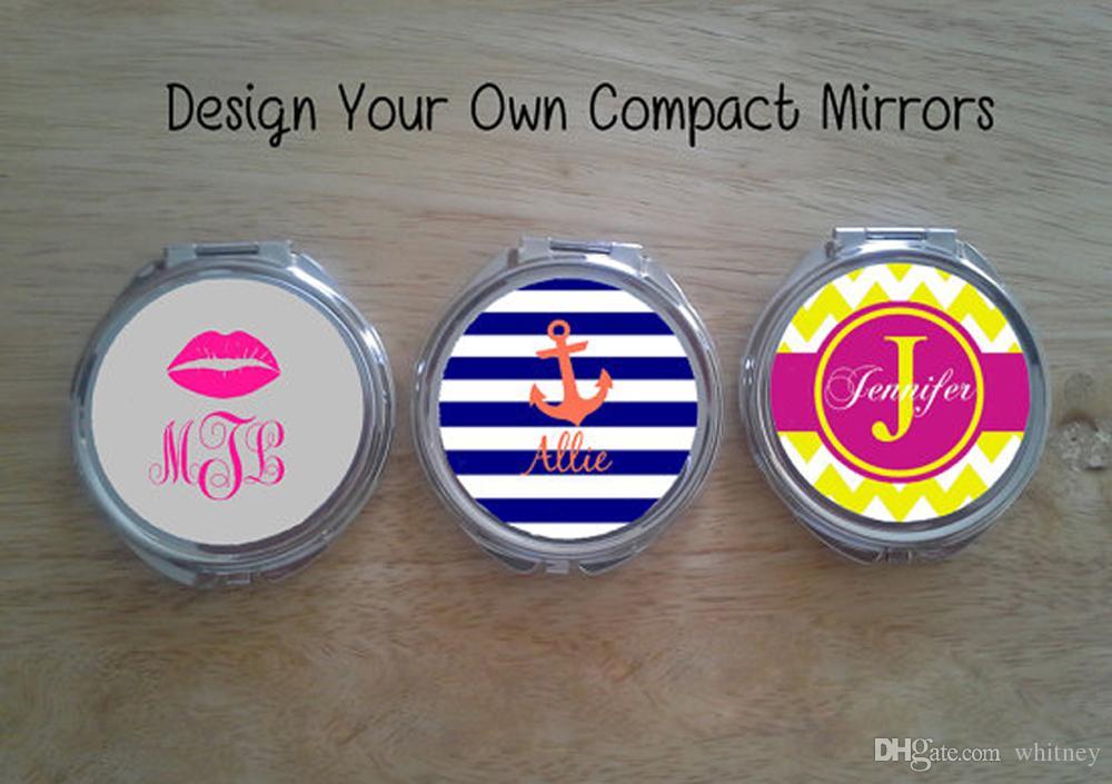 Mirror compacto redondo en blanco + Etiqueta de epoxi DIA 51mm DIY ESPEJO Compacto en blanco # 18032-1 5 Piezas / lote Pequeño orden de prueba