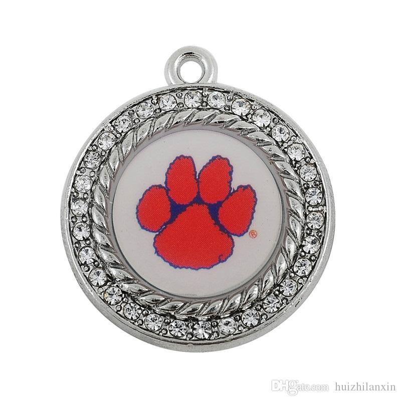 métal émail sport équipe en forme pour collier / bracelet / boucle d'oreille pendentif charmes NCAA clemson tigres bricolage sport pendentif bijoux