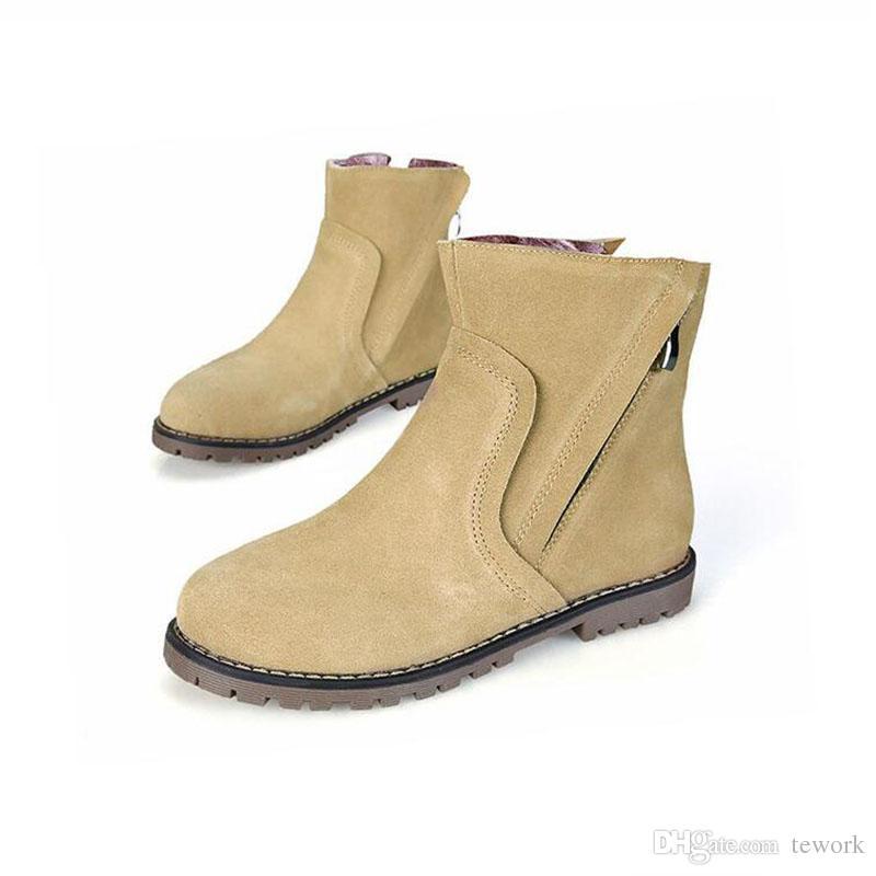 best cheap f7c06 6dac5 plus size 34-43 Herbst Winter Damen Stiefel Solid European Damenschuhe  Martin Stiefel Wildleder Stiefeletten mit dickem Peeling