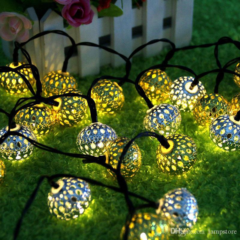 20 head of Moroccan hollow ball solar festival lights string Christmas lights LED holiday lights