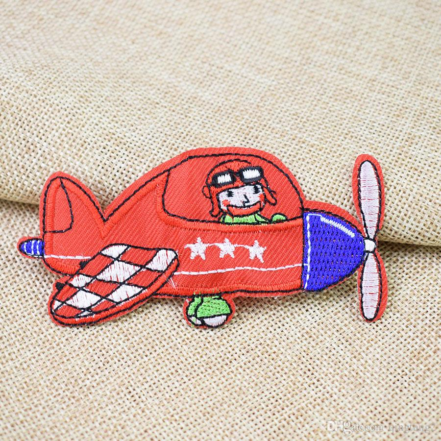 red aircraft embroidery patches for clothing iron patch for clothes applique sewing accessories stickers badge on cloth iron on patch