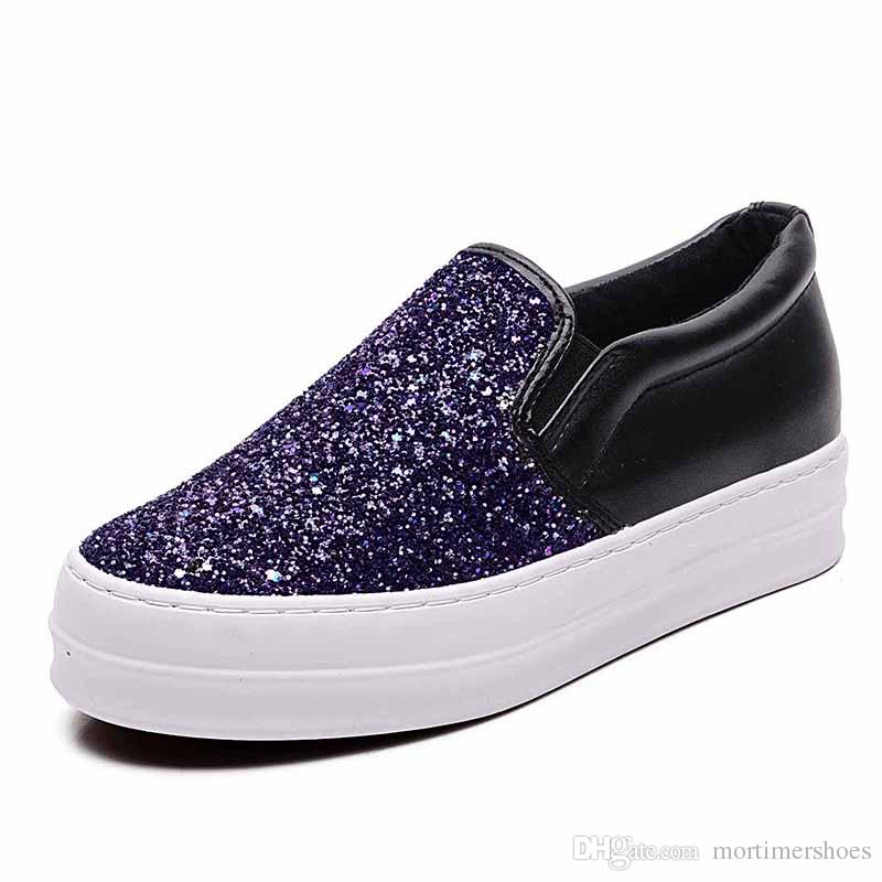 free shipping women casual shoes sequins fashion rubber sole factory wholesale export cloth material flat heel increase