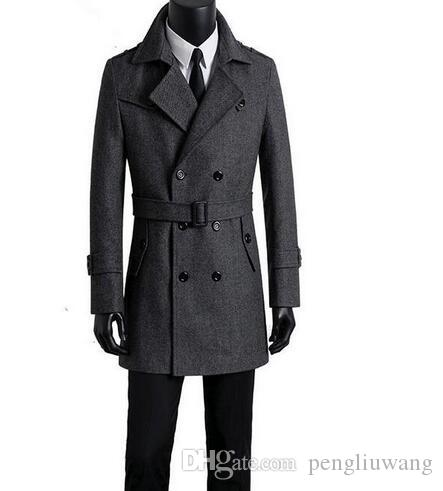 030745c4fc2 2019 Men S Clothing Woolen Coats Mens Medium Long Winter Coats Men Overcoat  Double Breasted Business Casaco Masculino Grey Plus Size From Pengliuwang
