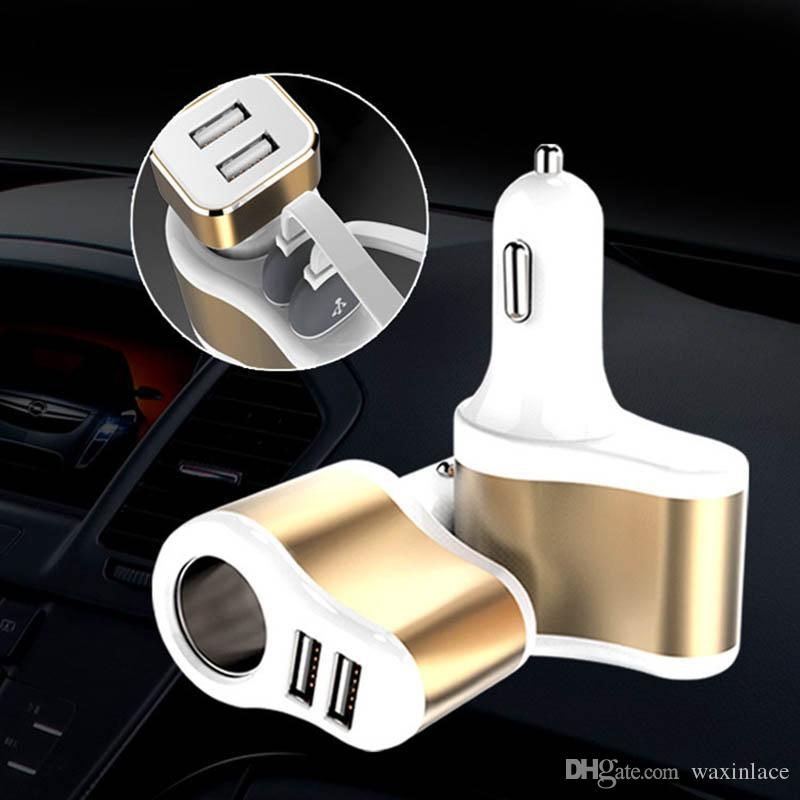 New USB Car Charger Adapter 5V 3.1A Quick Car Charger Dual Port Cigarette Lighter Adapter For Smart Cellphone and MP3
