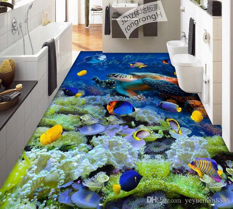 3d floor tiles Custom wallpapers for living room Beach shellfish 3d floor art self adhesive wallpaper tile flooring bathroom wallpaper luxus