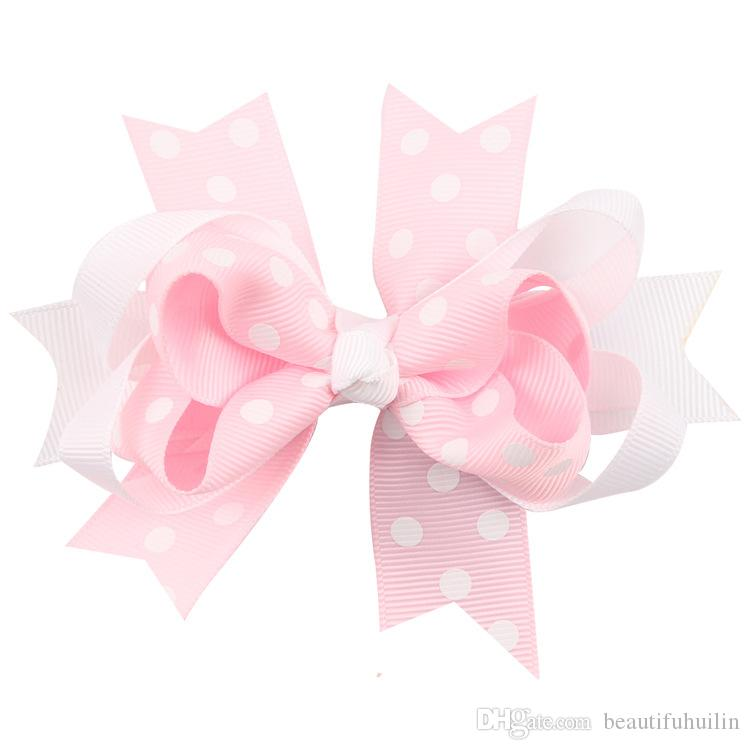 5 Inch Girls Dot Layered Ribbon Bows Hairpin Baby Girls Handmade Boutique Hair Clip Beautiful HuiLin DW56