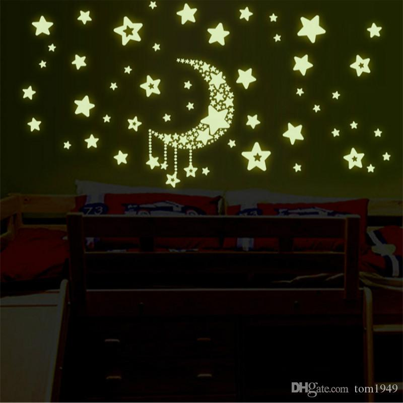 Noctilucent Star Wall Sticker Home Decor Glow In The Dark Star Wall Stickers for Kids Room Bedroom